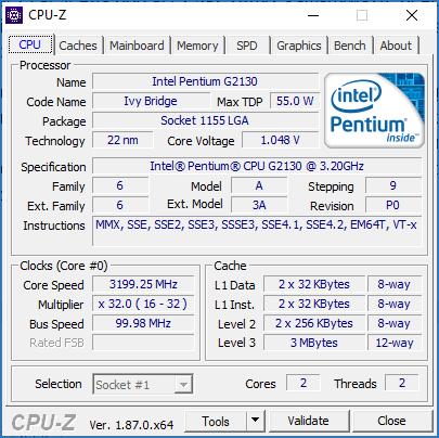 CPU Z сведения о процессоре