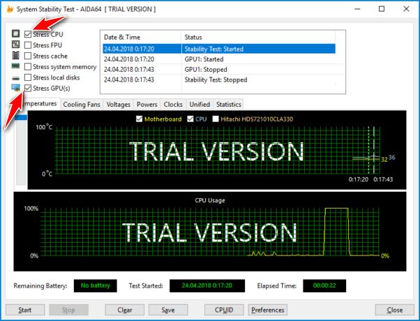 Чекбоксы для проведения стресс теста процессора в программе Aida64