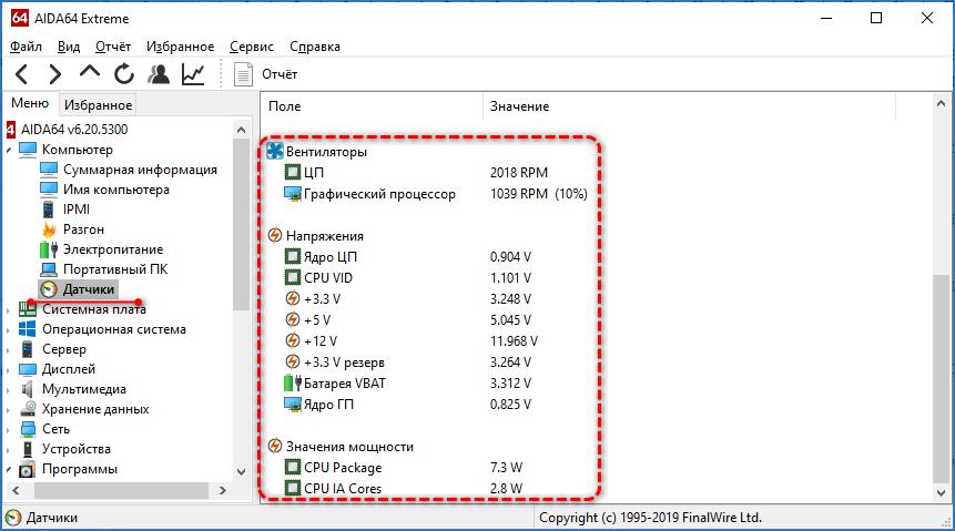 Данные с датчиков AIDA64