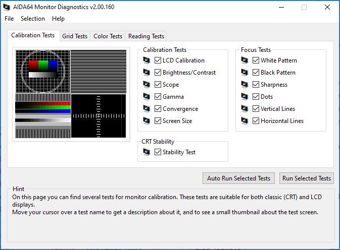Диагностика монитора AIDA64