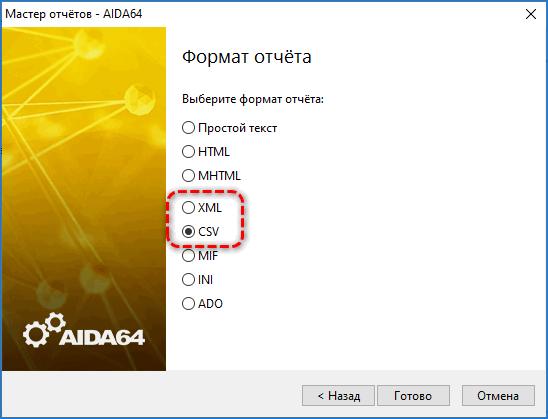 Форматы отчетов AIDA64