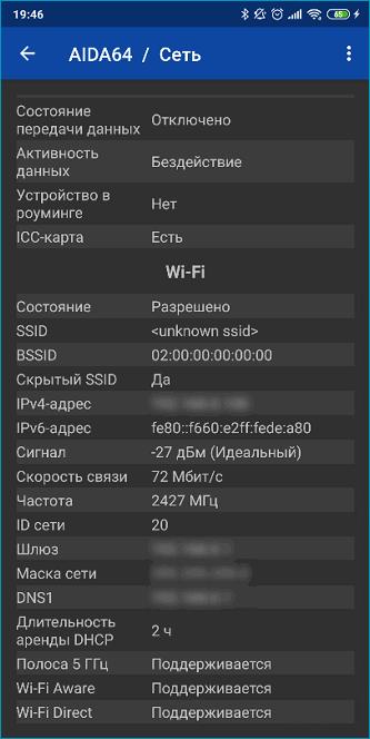 Информация о сетевом подключении в AIDA64
