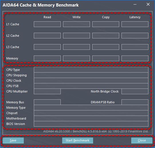 Интерфейс бенчмарка AIDA64