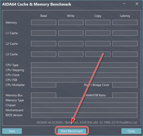 Кнопка запуска теста кэша и памяти