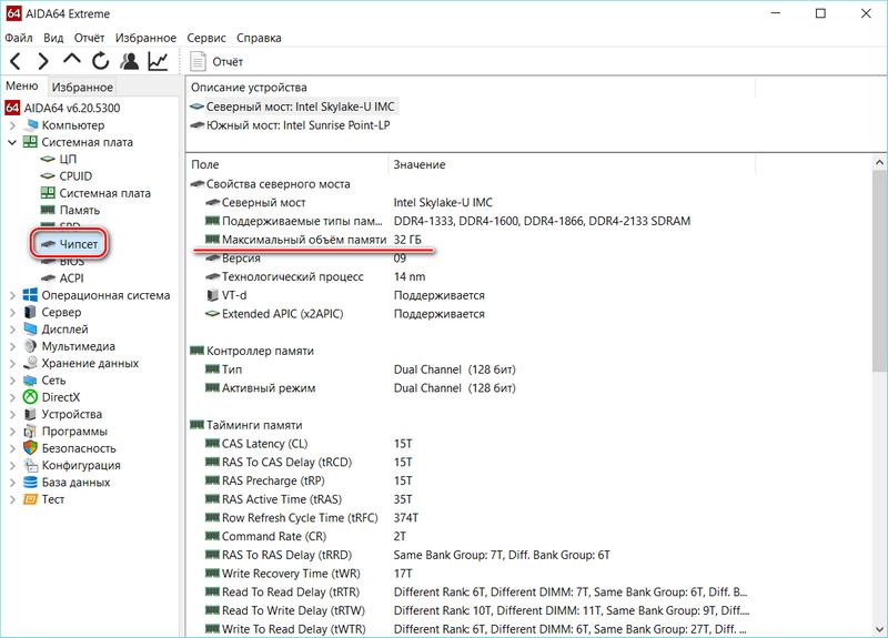 Максимальный объем памяти в AIDA64