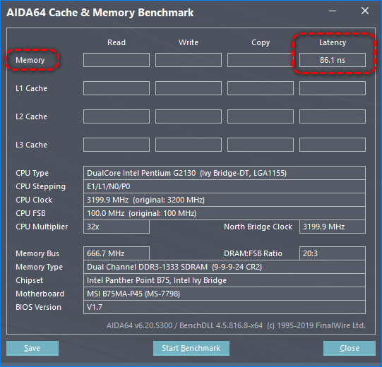 Проверка латентности RAM AIDA64
